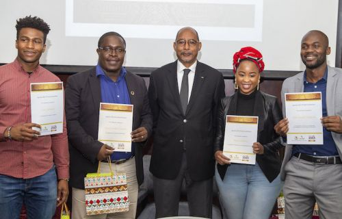 Prize-giving to the Youth African Champions by the AUDA-NEPAD CEO, Ibrahim Mayaki (center) in Johannesburg, April 10